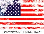 usa flag snowflake background | Shutterstock . vector #1136634635