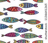 cute fish.  kids background.... | Shutterstock .eps vector #1136641265