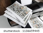 printer and printed us dollars  ... | Shutterstock . vector #1136659445