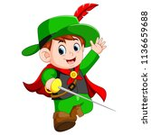 funny musketeer with sword | Shutterstock . vector #1136659688