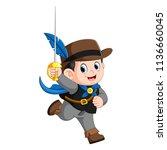 cute musketeer with sword   Shutterstock . vector #1136660045