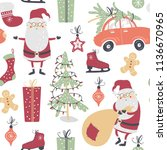 christmas seamless pattern with ... | Shutterstock .eps vector #1136670965