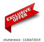 red vector banner ribbon... | Shutterstock .eps vector #1136672015