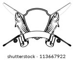 vector image of crossed fishing ...   Shutterstock .eps vector #113667922