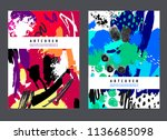 vector set of art covers  ink... | Shutterstock .eps vector #1136685098