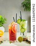 mango  grapefruit  cucumber and ... | Shutterstock . vector #1136690942