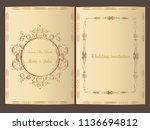 wedding invitation.save the... | Shutterstock .eps vector #1136694812