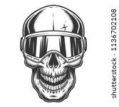 skull in the ski glasses.... | Shutterstock .eps vector #1136702108