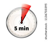 realistic clock face with five... | Shutterstock .eps vector #1136703395