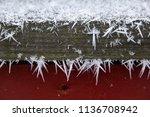 frozen wood surface with little ... | Shutterstock . vector #1136708942
