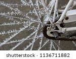detail view of a frozen bike... | Shutterstock . vector #1136711882