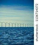 wind turbines generator farm... | Shutterstock . vector #1136714372