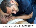 guy checking vital parameters... | Shutterstock . vector #1136715125