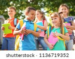 cute little children with... | Shutterstock . vector #1136719352