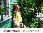 enjoying a country holiday....   Shutterstock . vector #1136724215