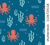 marine seamless pattern | Shutterstock .eps vector #1136725118