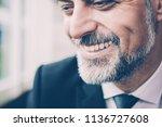 closeup portrait of smiling... | Shutterstock . vector #1136727608