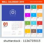 wall calendar planner template... | Shutterstock .eps vector #1136735015