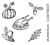 hand drawn set of thanksgiving... | Shutterstock .eps vector #1136738225