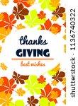 thanksgiving invitation card... | Shutterstock .eps vector #1136740322