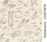 vegetable doodles seamless... | Shutterstock .eps vector #113674678