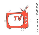 vector cartoon tv icon in comic ... | Shutterstock .eps vector #1136753585