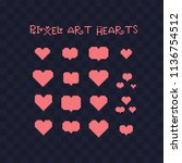 pixel art hearts icons set.... | Shutterstock .eps vector #1136754512