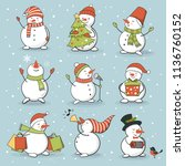 funny snowman set with winter... | Shutterstock .eps vector #1136760152