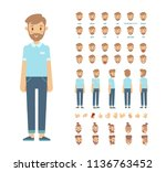 front  side  back view animated ... | Shutterstock .eps vector #1136763452