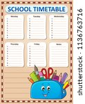 weekly school timetable... | Shutterstock .eps vector #1136763716