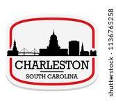 charleston south carolina label ... | Shutterstock .eps vector #1136765258