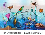 abstract colorful fantasy oil... | Shutterstock . vector #1136765492