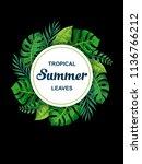 trendy summer tropical leaves... | Shutterstock .eps vector #1136766212