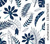 tropical vector green leaves... | Shutterstock .eps vector #1136766515
