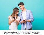 attractive young couple are... | Shutterstock . vector #1136769608