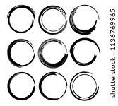 set of round grunge frames.... | Shutterstock .eps vector #1136769965