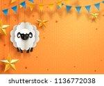 lovely eid mubarak paper art... | Shutterstock .eps vector #1136772038