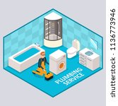 plumbing service concept.... | Shutterstock .eps vector #1136773946