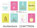 set of merry christmas and... | Shutterstock .eps vector #1136775026