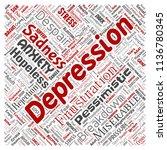 vector conceptual depression or ... | Shutterstock .eps vector #1136780345