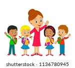 kids with bag and teacher are... | Shutterstock .eps vector #1136780945