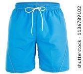 blue men shorts for swimming...   Shutterstock . vector #1136789102