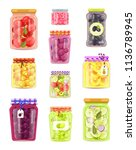 preserved fruit and vegetables... | Shutterstock .eps vector #1136789945