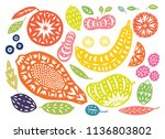 hand drawn tropical and exotic... | Shutterstock .eps vector #1136803802