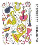 musical instruments isolated on ... | Shutterstock .eps vector #1136803808