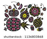 hand drawn tropical and exotic... | Shutterstock .eps vector #1136803868