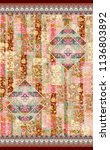 paisley with floral  strip line ... | Shutterstock . vector #1136803892