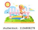 child boy play in garden pool....   Shutterstock .eps vector #1136808278