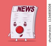 newspaper clown vector... | Shutterstock .eps vector #1136808308