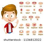 mouth animation set for cute... | Shutterstock .eps vector #1136812022